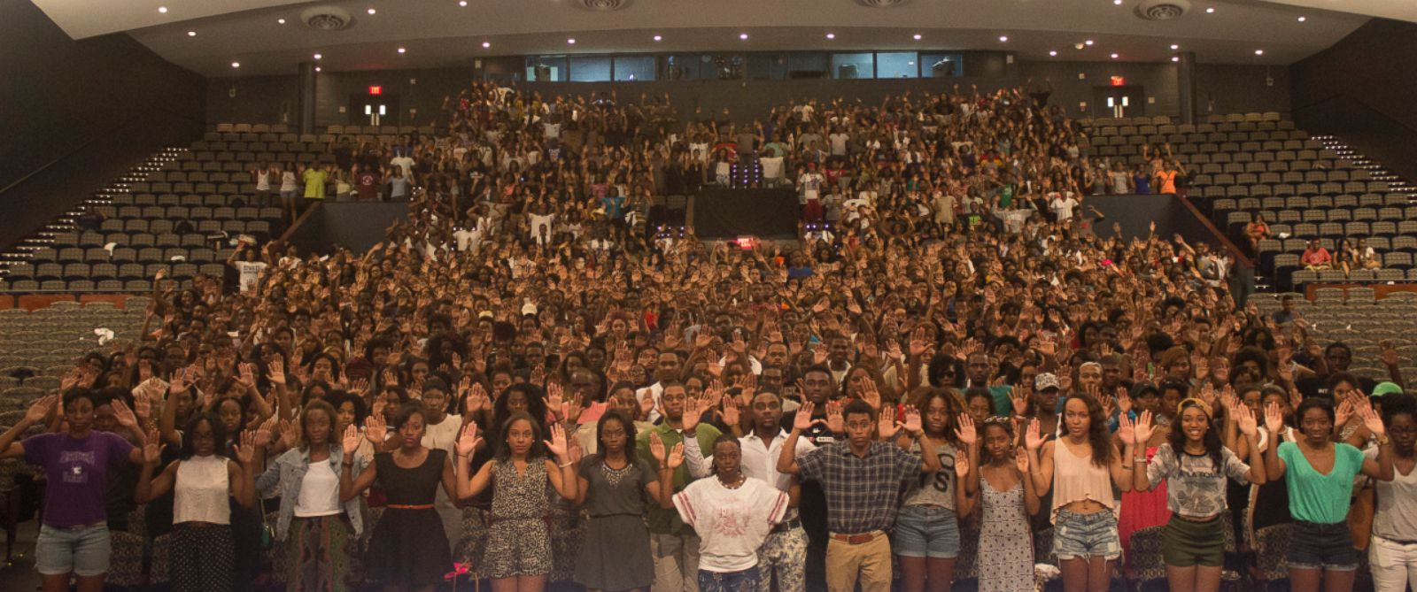 PHOTO: Howard University students posed for a photo with their hands up in surrender pose in honor of Missouri teen Michael Brown, who was shot by a police officer Saturday while holding his hands up, according to witnesses.