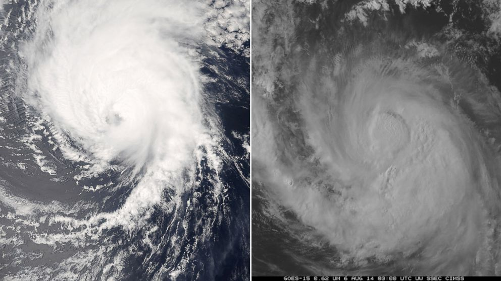 PHOTO: Hurricane Iselle, left and Hurricane Julio, right, are seen in these satellite images from NOAA.