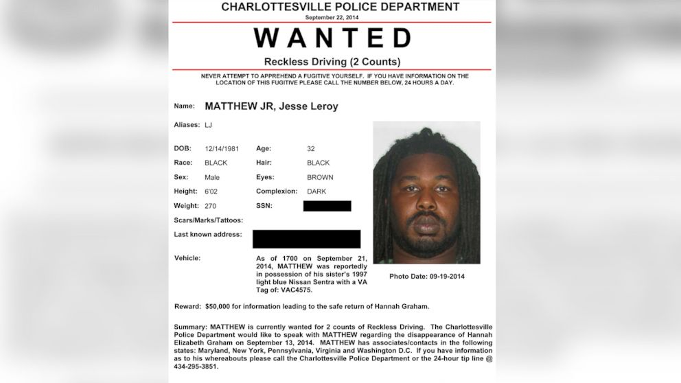 This Is the Wanted Poster for Person of Interest in UVA Case ABC – Wanted Person Poster