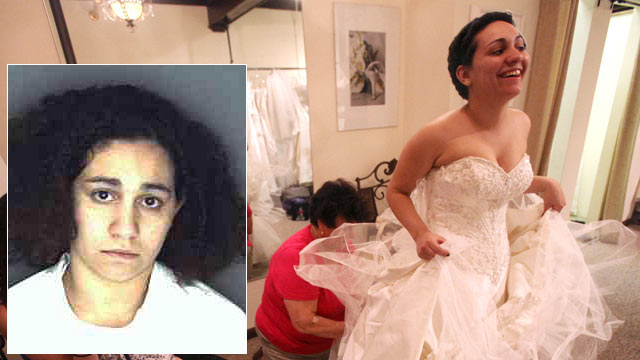 PHOTO: Jessica Vega is fitted for her wedding gown in this undated file photo. Jessica Vega, inset, is seen in her undated booking photo.