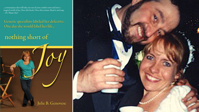 "PHOTO: Julie Genovese, author of ""Nothing Short of Joy"", is shown with her husband."