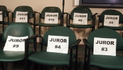 PHOTO: The empty juror chairs in the media room after the jury found Casey Anthony not guilty in her 1st-degree murder trial, at the Orange County Courthouse, in Orlando, Fla., July 5, 2011.