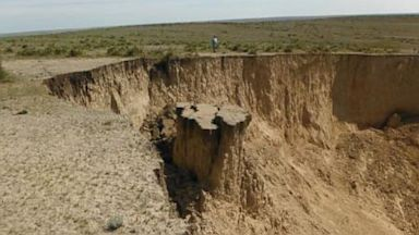 PHOTO: A large sinkhole has opened in a pasture in Sharon Springs, Kansas.