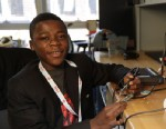 PHOTO: Kelvin Doe, 16, of Sierra Leone in West Africa, met with students and professors at MIT and Harvard for his inventions using scrap metal and other material.