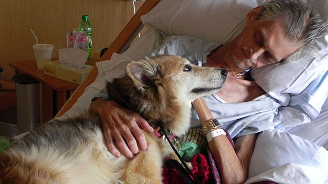 PHOTO: After being admitted to a hospice, Kevin McClain's main worry was not for himself, but his dog Yurt.