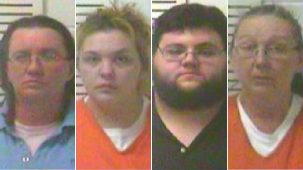 PHOTO: From left, Denise Kroutil, Elizabeth Hupp, Nathan Firoved, and Rose Brewer are pictured in their booking photos.
