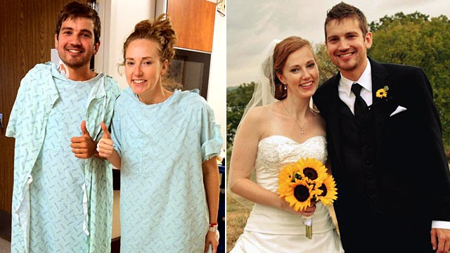 PHOTO: Jonathan and Caitlin Woodlief doing well after transplant surgery, left, and Jonathan and Caitlin's wedding in October.