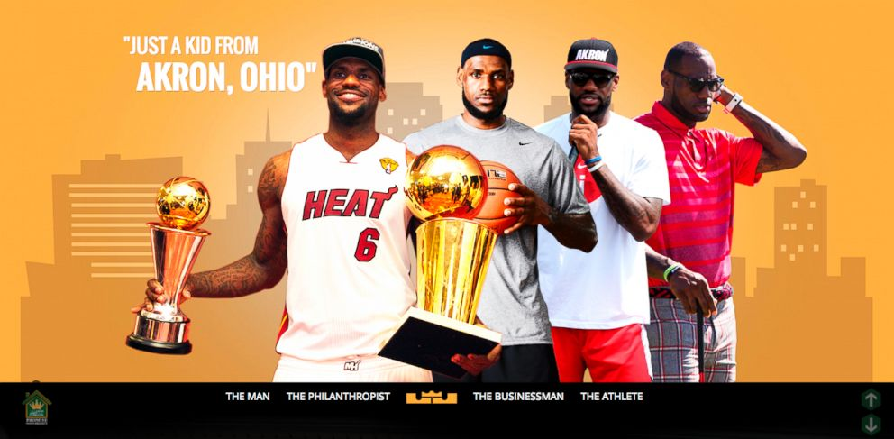 PHOTO: The website of Lebron James is seen in this screengrab.
