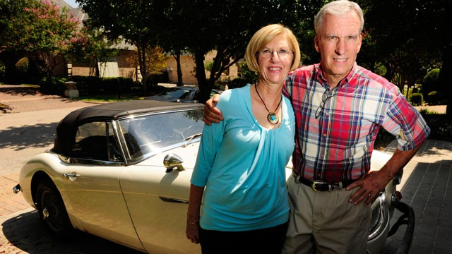 PHOTO: Bob Russell, right, and his wife Cyndy, pose outside their Southlake, Texas home, June 28, 2012, with the with the 1967 Austin Healy that was stolen from him more than 40 years ago.