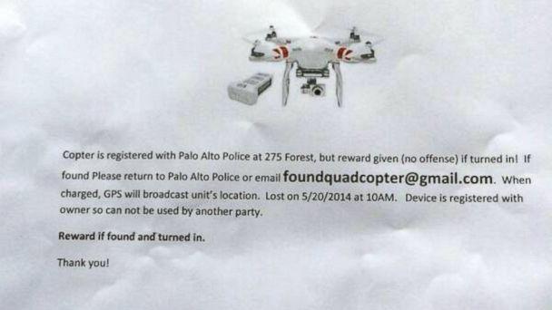 ht lost quadcopter liz gannes jc 140522 16x9 608 Flier in Palo Alto Advertises Lost Drone, Reward