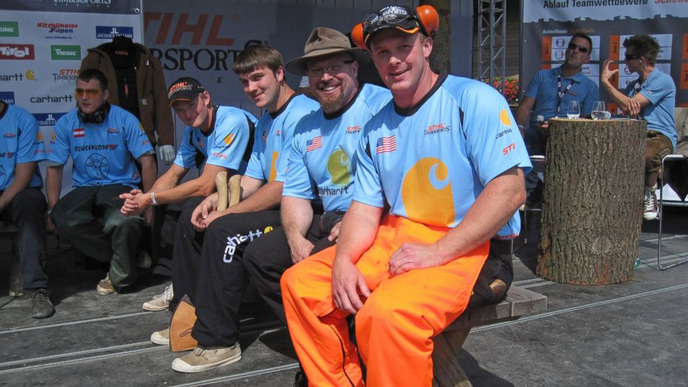 PHOTO: From R-L Branden Sirguy, Arden Cogar, Mathew Cogar, and Will Roberts wait to compete in the relay competition at the STIHL Timbersports World Championship in Austria in 2010.