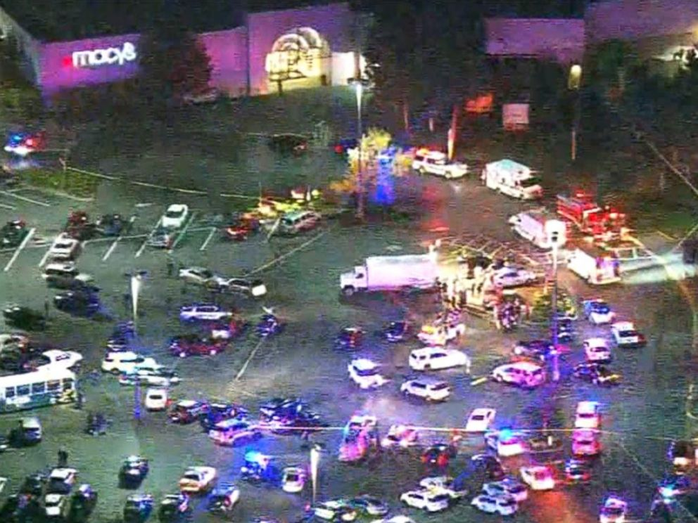 PHOTO: An aerial view of Cascade Mall in Burlington, Washington, on September 23, 2016. A gunman struck the mall, killing multiple people.