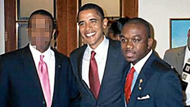 PHOTO: Marco McMillian, right, poses in an undated photo with Barack Obama that appeared on McMillian's professional website where he announced his run for mayor of Clarksdale, Miss.
