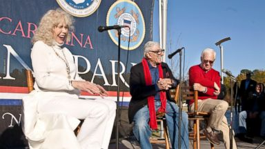 PHOTO: Actors Loretta Swit, Jamie Farr and William Christopher from the hit television series M*A*S*H answer questions Sunday during a public meet and greet at North Carolina Veterans Park.