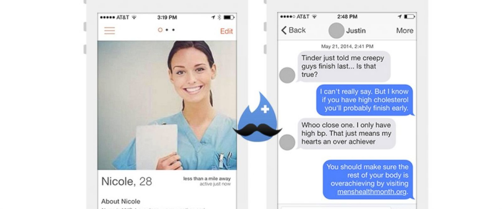 PHOTO: A look at the fake Tinder nurse urging men to visit the doctor during Mens Health Month.