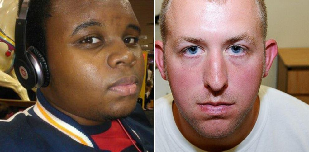 PHOTO: Michael Brown, left, is seen in this photo posted to Facebook. Ferguson police Officer Darren Wilson, pictured in an evidence photo released by the St. Louis County Prosecutors Office on Nov. 24, 2014.