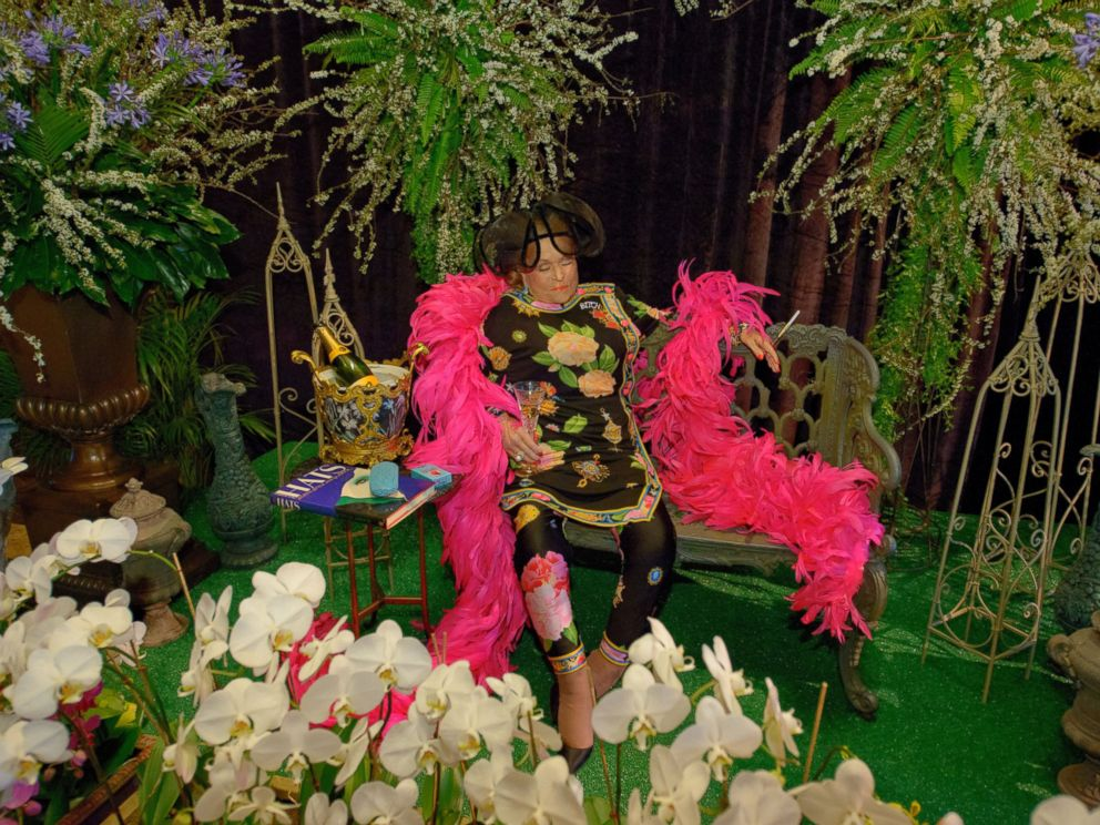 PHOTO: The body of Mickey Easterling, a New Orleans socialite, sits on a bench surrounded by flowers and some of her other favorite things at the Saenger Theatre in New Orleans, La. April 22, 2014.