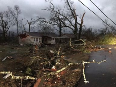 PHOTO: Ryan Moore, a reporter with ABC affiliate WDAM-TV in Hattiesburg, Miss., tweeted this photo illustrating the damage a tornado did in Hattiesburg.