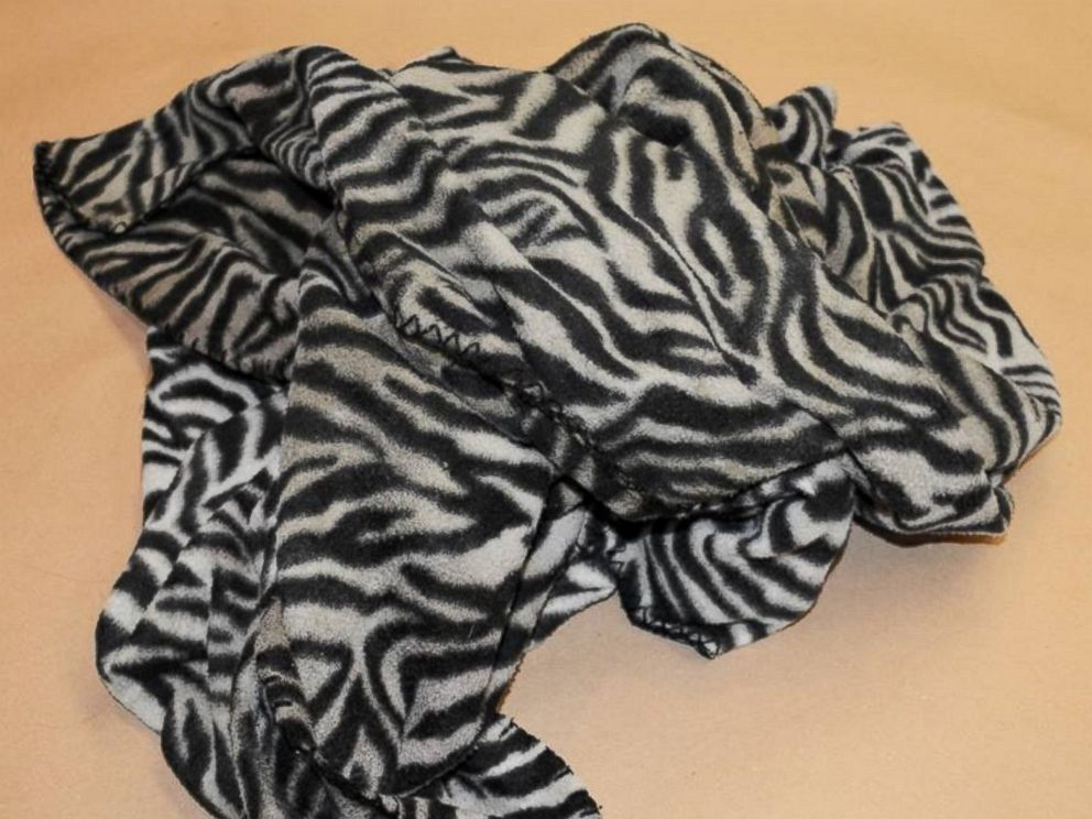 PHOTO: The Massachusetts State Police released an image of a black and white zebra-stripe blanket found with the girls body.