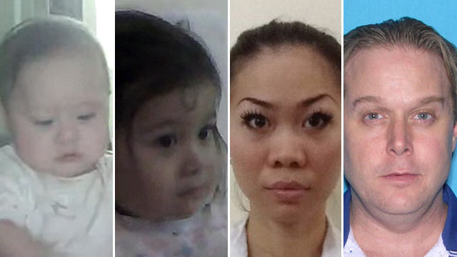 "PHOTO: A Florida Missing Child Alert has been issued for (l-r) Trieu ""Kiah"" Co Firth and Chieu ""Kristin"" Quan Firth. Possibly in the company of  Mai Dang (Firth) and James Firth, far right."