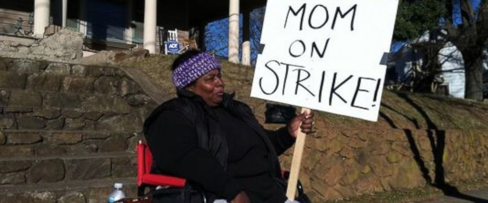 PHOTO: A North Carolina mom pictured here is on strike to protest her childrens out of control behavior.