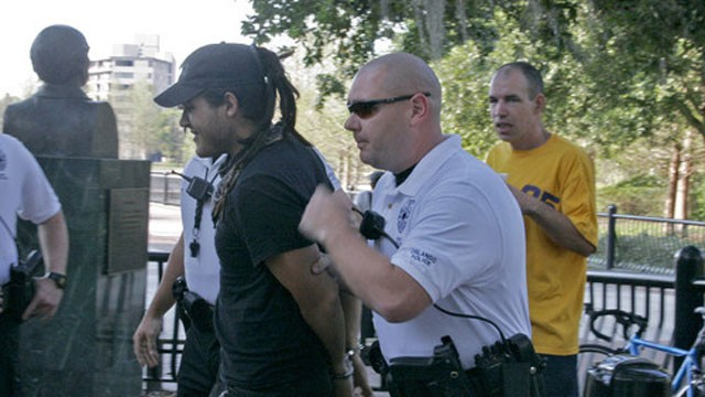 PHOTO: On April 4, 2007 Food Not Bombs volunteer Eric Montanez was arrested by police.