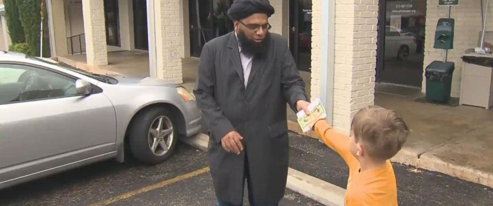 PHOTO: Seven-year-old Jack Swanson donated all the contents of his piggy bank to The Islamic Center of Pflugerville in Texas after it was found vandalized on Nov. 16, 2015, according to police.