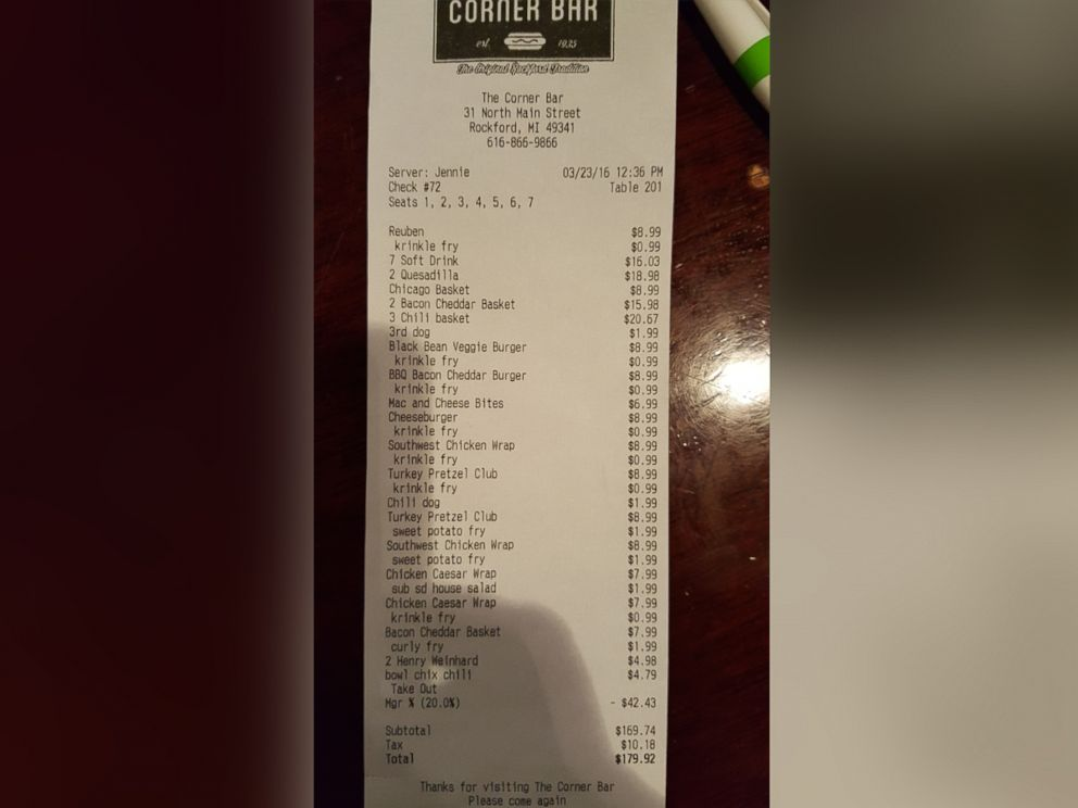 PHOTO: A man, who wished to remain anonymous, paid the bill for more than 30 National Guard troops on Wednesday, March 23, 2016. The man never released his identity to the troops and left before they could say thank you.