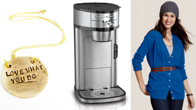 PHOTO: Alisa Michelle necklace, the Hamilton Beach Coffee Maker and the Lands End sweater