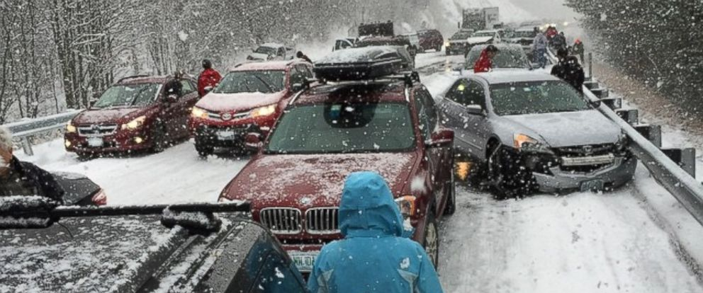 PHOTO: Pictured is a scene from a 35-car pileup on I-93 in Ashland, N.H.