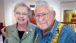 PHOTO:Nita Lou Webb, left and Tom Bell Marcine Webb, from San Angelo, Texas, recently completed their bucket list to celebrate their 65th wedding anniversary.