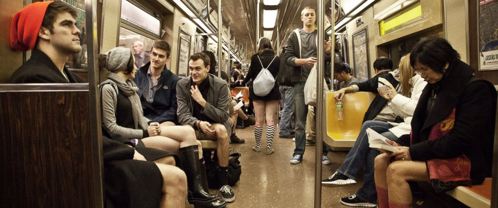 PHOTO: An undated photo provided by Improv Everywhere shows participants in the No Pants Subway Ride in New York.