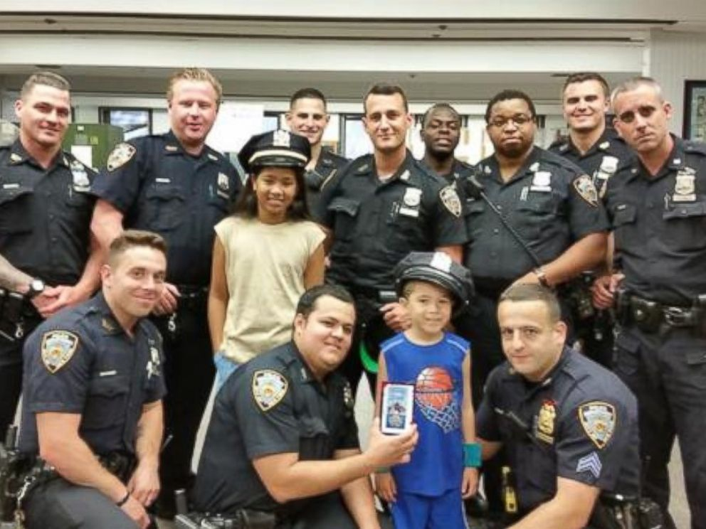 PHOTO: Zachary Becerra, 7, is on a mission to hand out super hero cards to every NYPD precinct.