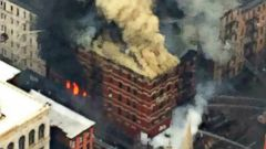 PHOTO: The New York Police Dept. posted this photo to Twitter showing a building fire and collapse in New York City, March 26, 2015.
