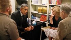 President Obama is seen here meeting with ISIS hostage Kayla Muellers parents, Carl and Marsha Mueller, in this undated photo.