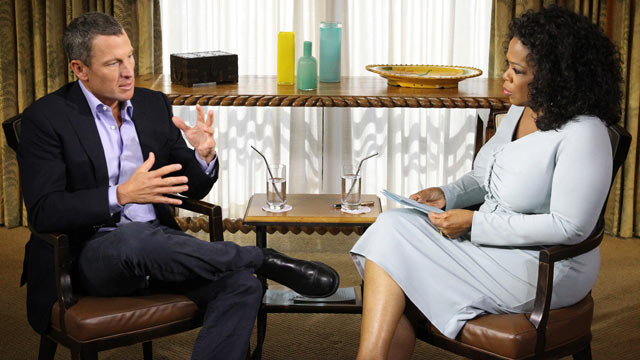 Photo oprah winfrey interviews lance armstrong in austin texas