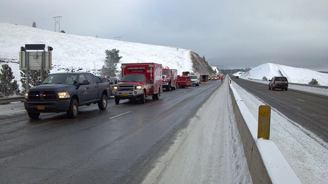 PHOTO: At least five people died after a passenger bus slid off the ice on Interstate 84 and crashed 200 feet down an embankment Sunday morning, Dec. 30, 2012 in Pendleton, Oregon, police said.