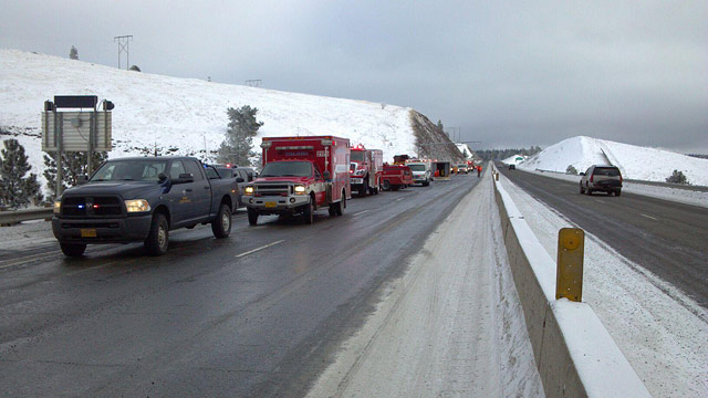 PHOTO: At least five people died after a passenger bus slid off the ice on Interstate 84 and crashed 200 feet down an embankment Sunday morning, Dec. 30, 2012 in Pendleton, Ore