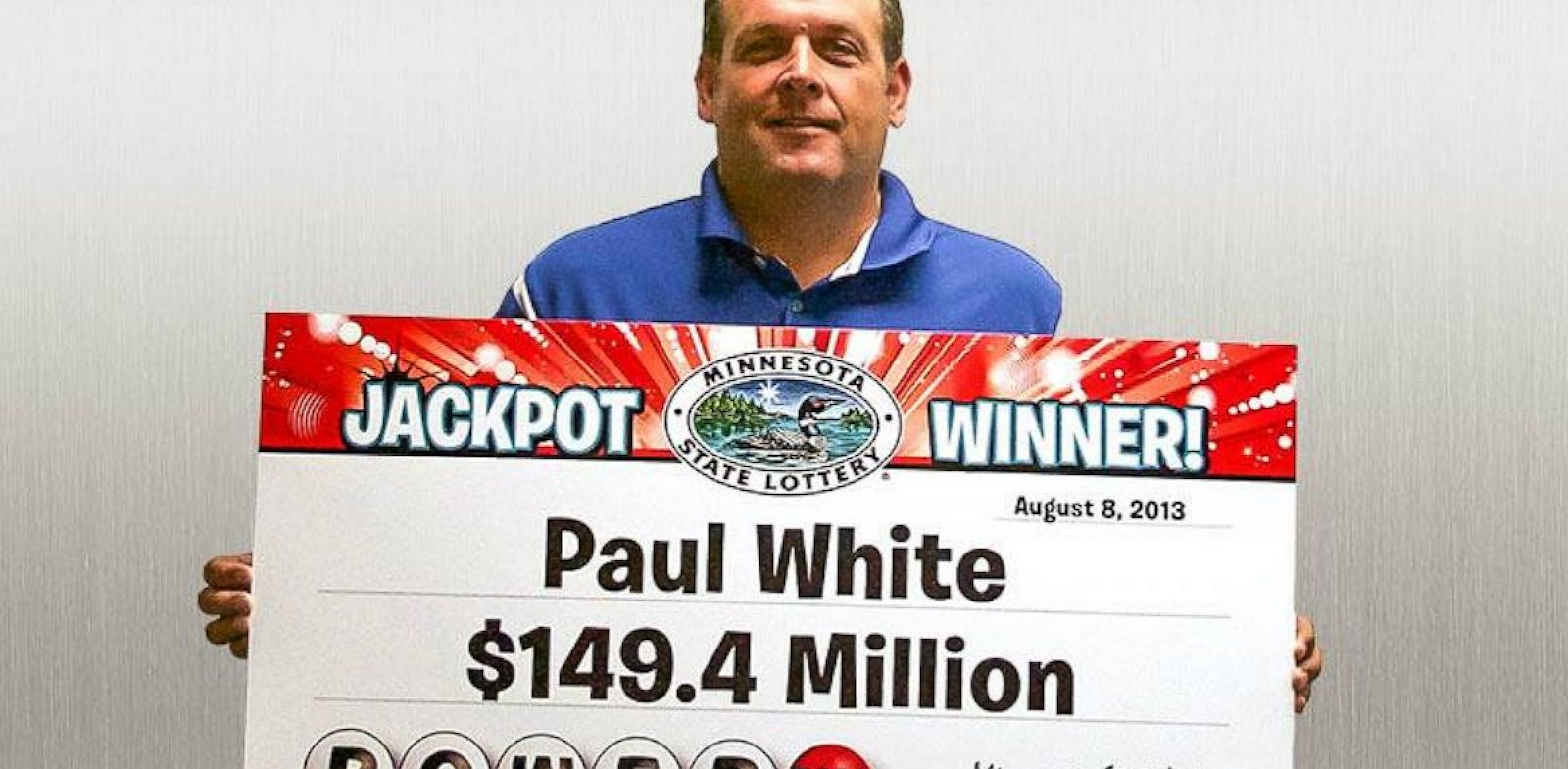 PHOTO: Paul White of Ham Lake, Minn., was one of three Powerball winners from the drawing on Aug. 7, 2013.