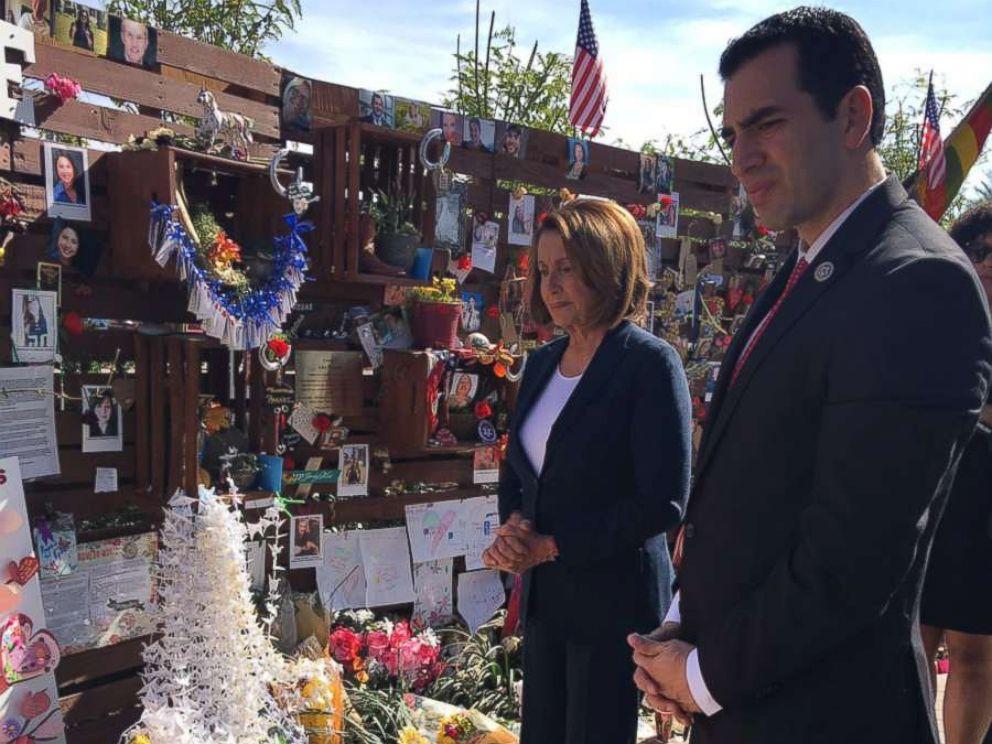 PHOTO: Rep. Ruben Kihuen, D-Nevada, and House Minority Leader Nancy Pelosi at the Las Vegas Community Healing Garden on October 17, 2017.