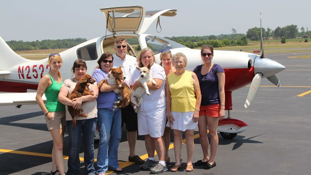 PHOTO: Volunteers from Pilots 'n Paws and Chance's Angel Rescue and Education on a recent trip.