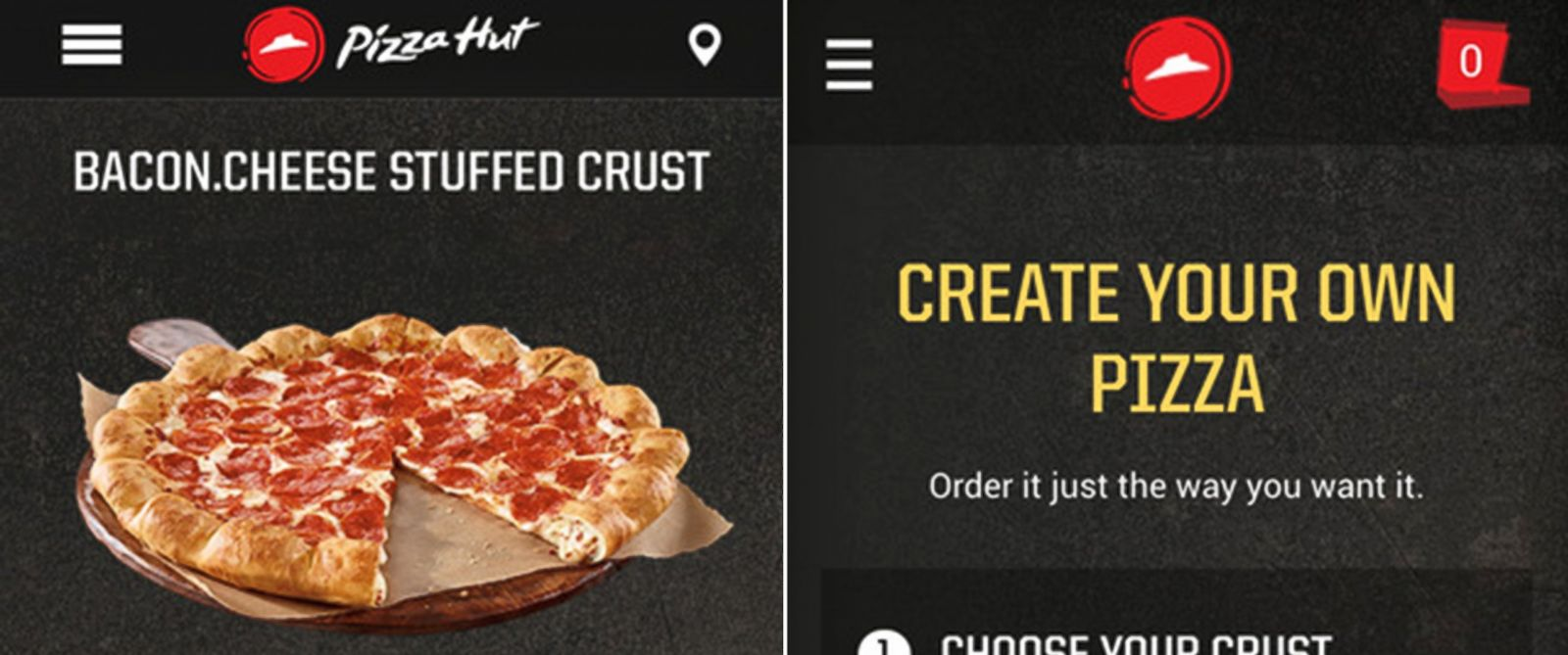 PHOTO: Screen grabs from the iTunes store show the Pizza Hut iPhone application.