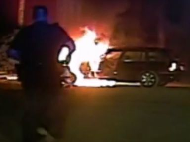 PHOTO: Dash cam video captured Corporal Adam Willis of the Mount Pleasant, South Carolina Police Department saving a man from a burning car.
