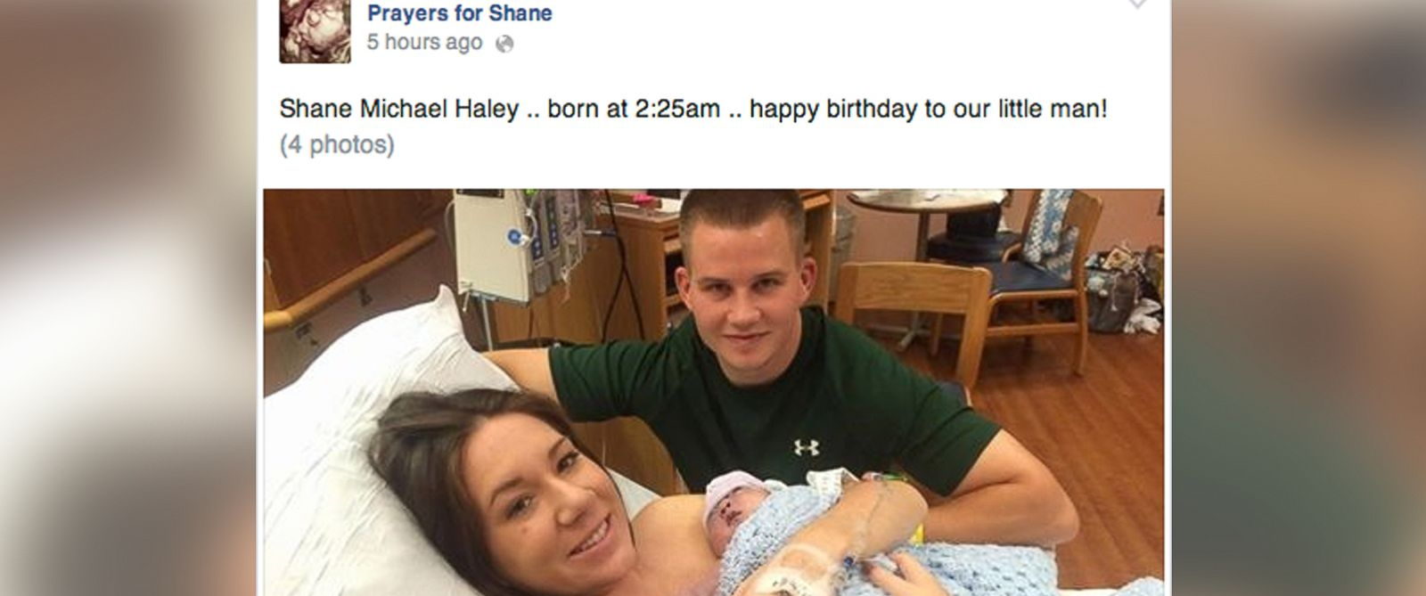 "PHOTO: Jenna and Dan Haley posted this photo of their newborn, Shane Haley, to their ""Prayers for Shane"" Facebook page, Oct. 9, 2014."