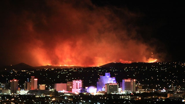 PHOTO: @JustinNOAA tweeted this pictures of a fire in Reno, Nevada, &quot;Stunning photo of Caughlin Fire in Reno, taken at 1:00 am by NOAA's Alexander Hoon.&quot;