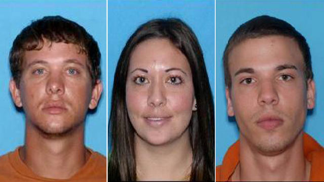 PHOTO: Ryan Edward Dougherty, 21, Lee Grace E. Dougherty, 29, and Dylan Dougherty Stanley, 26, are on the run after robbing a bank in Georgia, and shooting at a police officer in Zephyrhills, Fla.