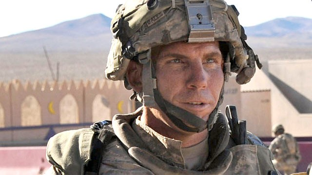 PHOTO: Staff Sgt. Robert Bales in conversation at the National Training Center at Ft. Irwin, Calif., Aug. 23.