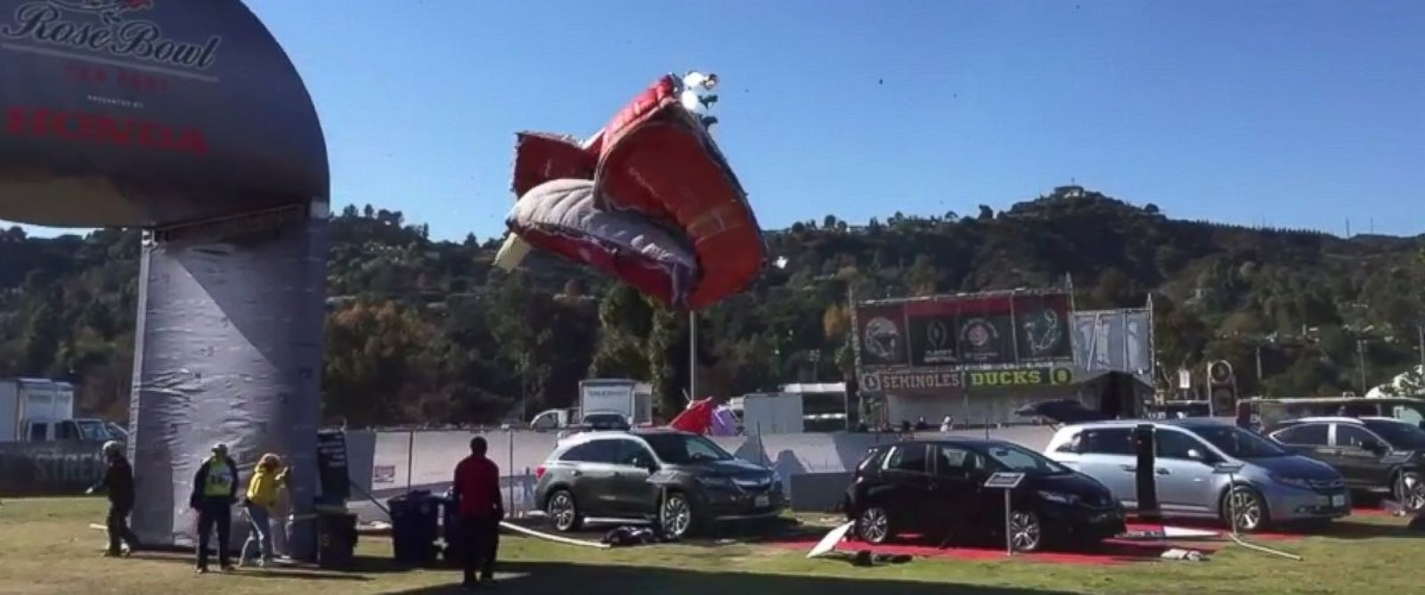 PHOTO: Four people were injured today by wind-blown booths at the Rose Bowl Stadium in Pasadena, California.