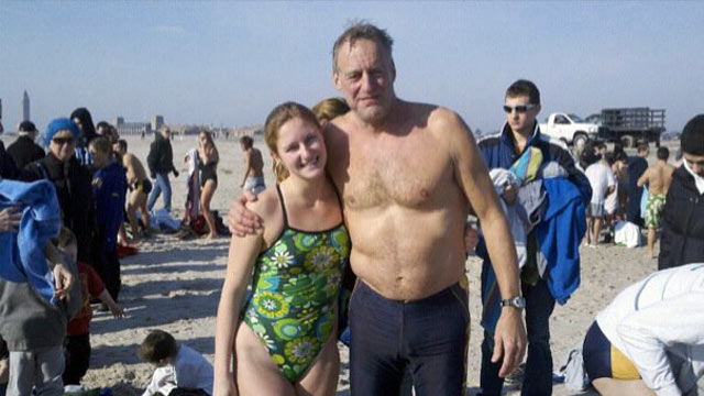 PHOTO: Roy Lester and his daughter 21-year-old daughter Jessica at the 2011 New Year?s day Jones Beach Polar Bear Dip. Even though Lester doesnt currently lifeguard at Jones Beach, he still enjoys participating in the yearly event.
