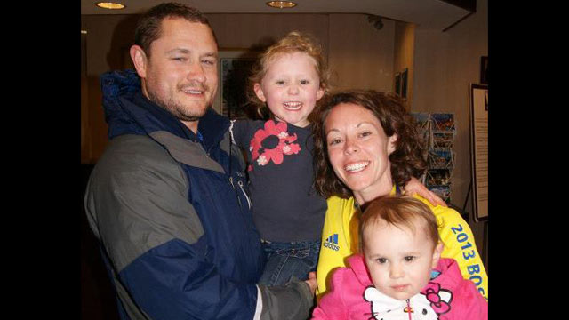 PHOTO: Ryan and Kelly Willard of Cuyahoga Falls, Ohio, pictured with their two daughters, survived both the Virginia Tech shooting and the Boston Marathon bombing.